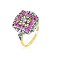 Antik goldschmiedering mit rubin und diamant